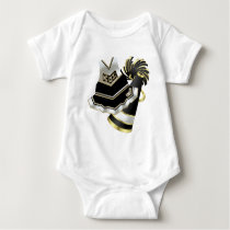 Gold Black and White Cheerleader Baby Bodysuit