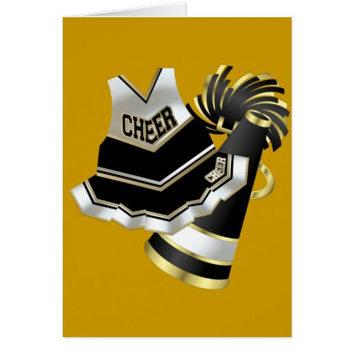 Gold Black and White Cheerleader Greeting Card