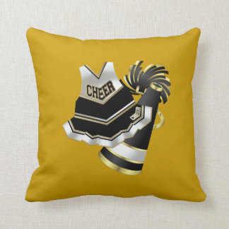 Gold Black and White Cheerleader Throw Pillow