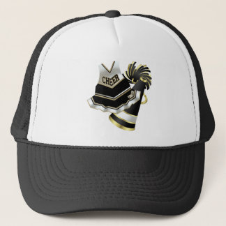 Gold Black and White Cheerleader Trucker Hat