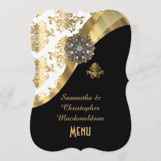 Gold, black and white damask wedding menu