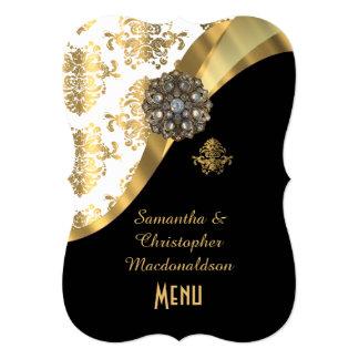 Gold, black and white damask wedding menu card