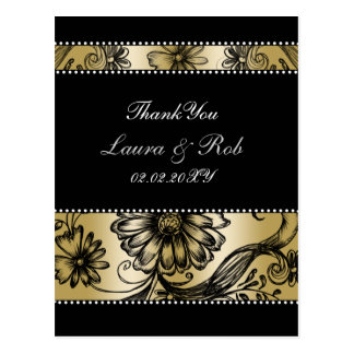gold+black and white floral ThankYou Cards