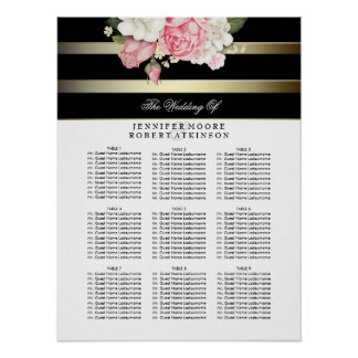Gold Black and White Floral Wedding Seating Chart Poster