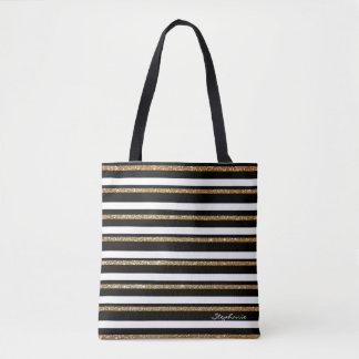 Gold Black and White Striped Custom Tote Bag