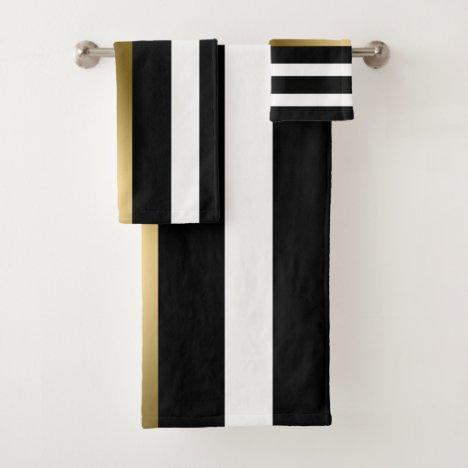Gold Black And White Stripes Bath Towel Set