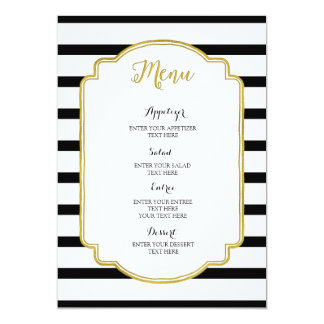 Gold Black and White Stripes Wedding Menu Card