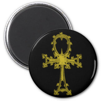 Gold/Black Ankh 2 Inch Round Magnet
