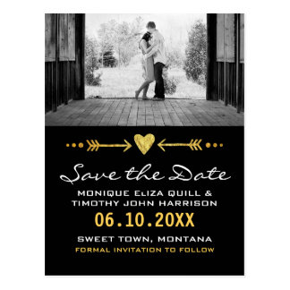 Gold Black Arrows Wedding Heart Card Save the Date