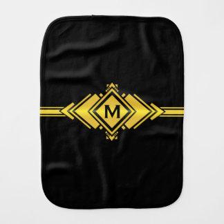 Gold & Black Art Deco Belt Monogram Baby Burp Cloth