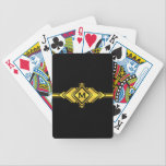 "Gold &amp; Black Art Deco Belt Monogram Bicycle Playing Cards<br><div class=""desc"">This glamorous gold and black art deco design, with intricate interlocking and overlapping diamonds and triangles, is all about the roaring twenties – flappers, cocktails, and great parties. The pattern is simple, but elegant, with strong symmetrical shapes reminiscent of Egyptian architecture. So grab this vintage yet chic product – customize...</div>"