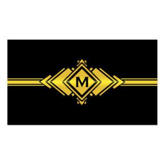Gold & Black Art Deco Belt Monogram Business Card