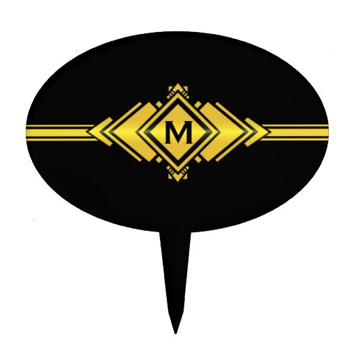 Gold & Black Art Deco Belt Monogram Cake Topper Zazzle