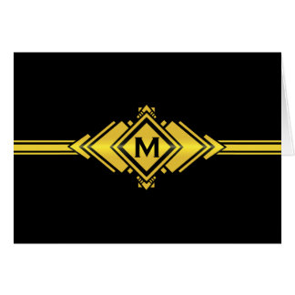 Gold & Black Art Deco Belt Monogram Card