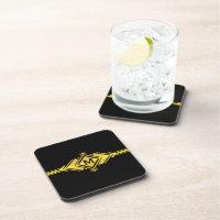 Gold & Black Art Deco Belt Monogram Drink Coaster