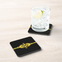 Gold & Black Art Deco Belt Monogram Drink Coaster