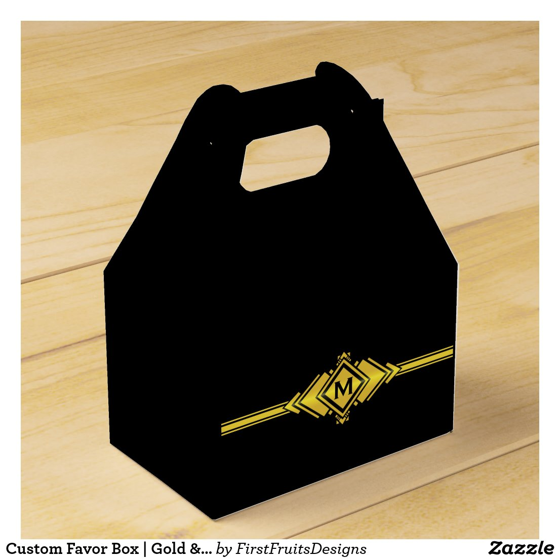 Gold & Black Art Deco Belt Monogram Favor Box