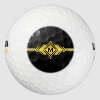 Gold & Black Art Deco Belt Monogram Pack Of Golf Balls