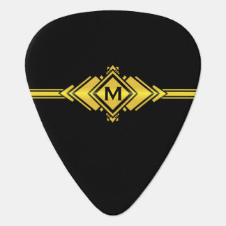 Gold & Black Art Deco Belt Monogram Guitar Pick