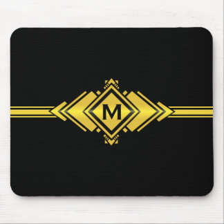 Gold & Black Art Deco Belt Monogram Mouse Pad