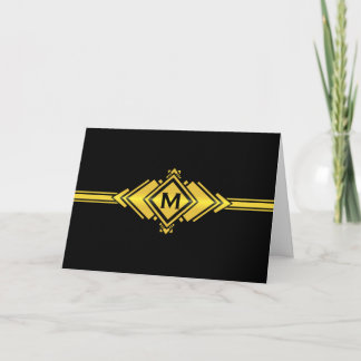 Gold & Black Art Deco Belt Monogram Note Card