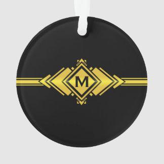Gold & Black Art Deco Belt Monogram Ornament