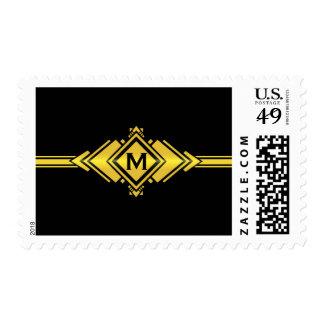 Gold & Black Art Deco Belt Monogram Postage Stamps