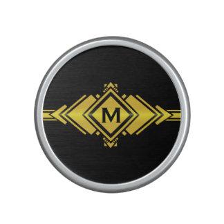 Gold & Black Art Deco Belt Monogram Speaker
