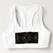 gold, black,art deco, metallic,pattern,vintage sports bra