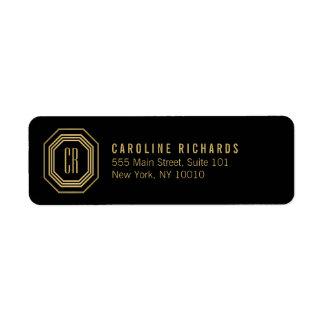 Gold/Black Art Deco Monogram Return Address Label