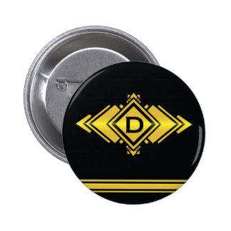 Gold & Black Art Deco Style Monogram 2 Inch Round Button