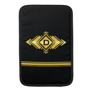 Gold Black Art Deco Style Monogram MacBook Air Sleeve
