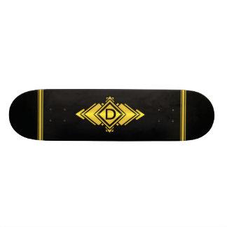 Gold & Black Art Deco Style Monogram Skateboard