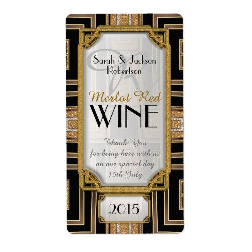 Gold+Black Art Deco Vintage Wine Bottle Labels