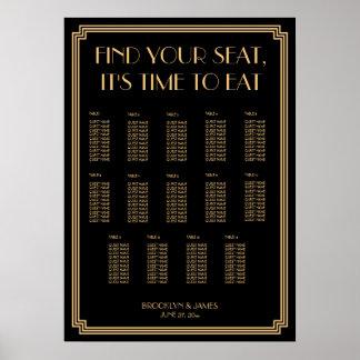 Gold Black Art Deco Wedding Seating Chart 20x28