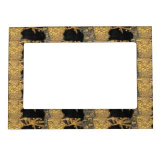 Gold Black  Art Nouveau Gustav Klimt Pattern Magnetic Picture Frame