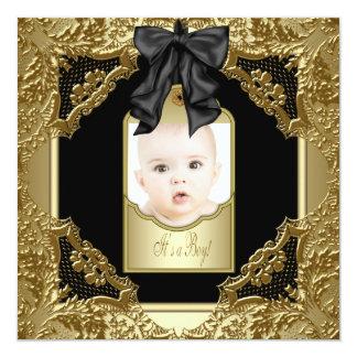 Gold Black Baby Boy Photo Birth Announcement
