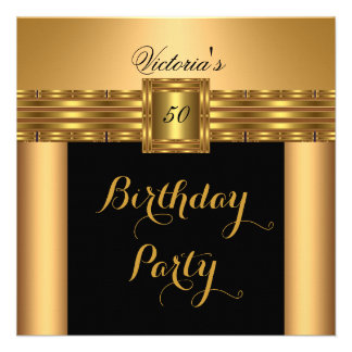 Gold Black Belt Buckle Birthday Party Personalized Invitation