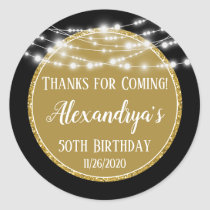 Gold Black Birthday Thanks For Coming Favor Tags