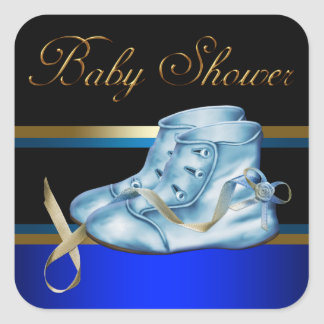 Gold Black Blue Baby Booties Boy Shower Stickers