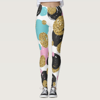 Gold Black Blue Pink Glam Dots Leggings