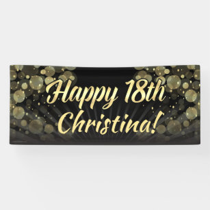 Gold Black Bokeh 18th Birthday Party Decoration Banner
