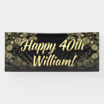 Gold/Black Bokeh 40th Birthday Party Decoration Banner