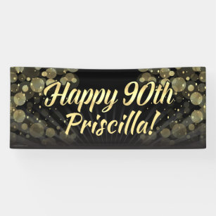Gold Black Bokeh 90th Birthday Party Decoration Banner
