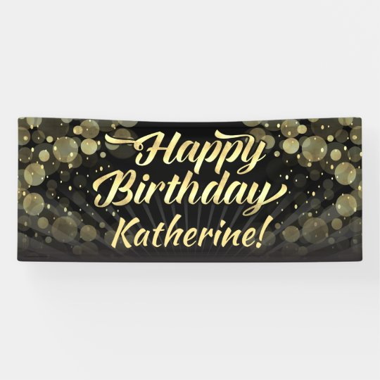 Black And Gold Glamour Adult Happy Birthday Banner