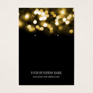 Gold Black Bokeh Lights Custom Earring Card