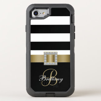 Gold, Black Bold Stripes Diamonds OtterBox Defender iPhone 8/7 Case