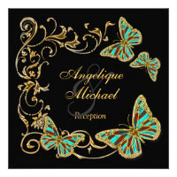Gold black butterfly RECEPTION wedding engagement Personalized Invitations (<em>$2.20</em>)