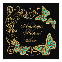 Gold black butterfly RECEPTION wedding engagement Personalized Invitations (<em>$2.31</em>)