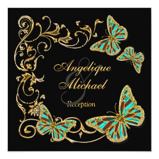 """Gold black butterfly RECEPTION wedding engagement 5.25"""" Square Invitation Card"""
